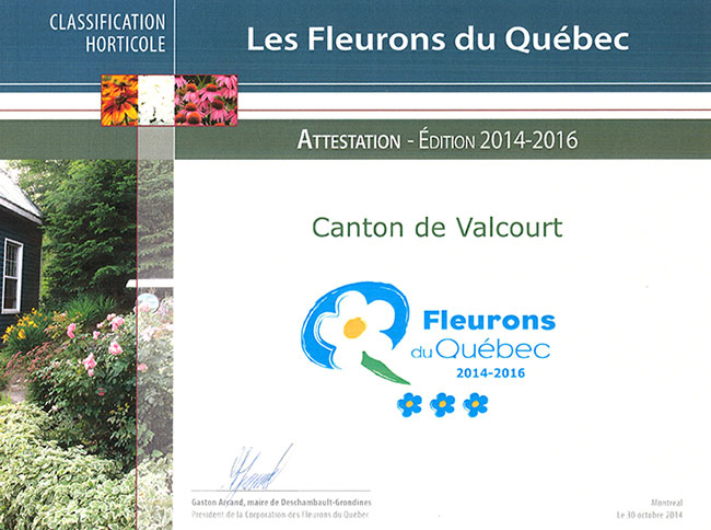 Fleurons du QUébec - Attestation 2014-2016